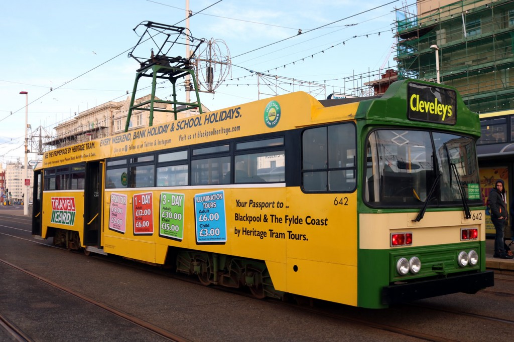 With a couple of trams failing on the day it should be noted that Centenary 642 managed the full day! This is Tower and North Pier and the tram is off to Cleveleys. Note that the advert has been adapted to show the new ticket prices.