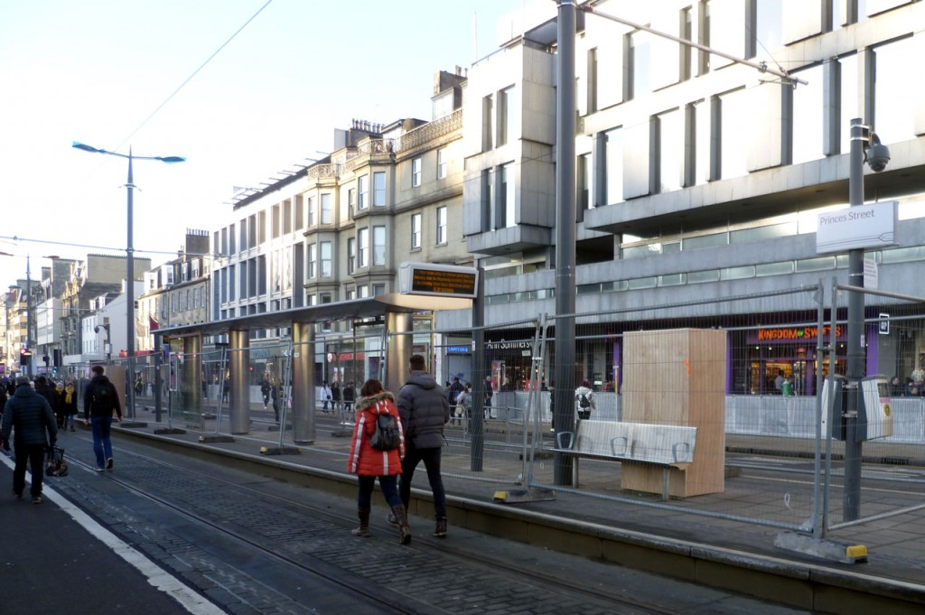 Safety measures were taken at Princes Street stop with barriers installed and the ticket machines covered by wooden boards.