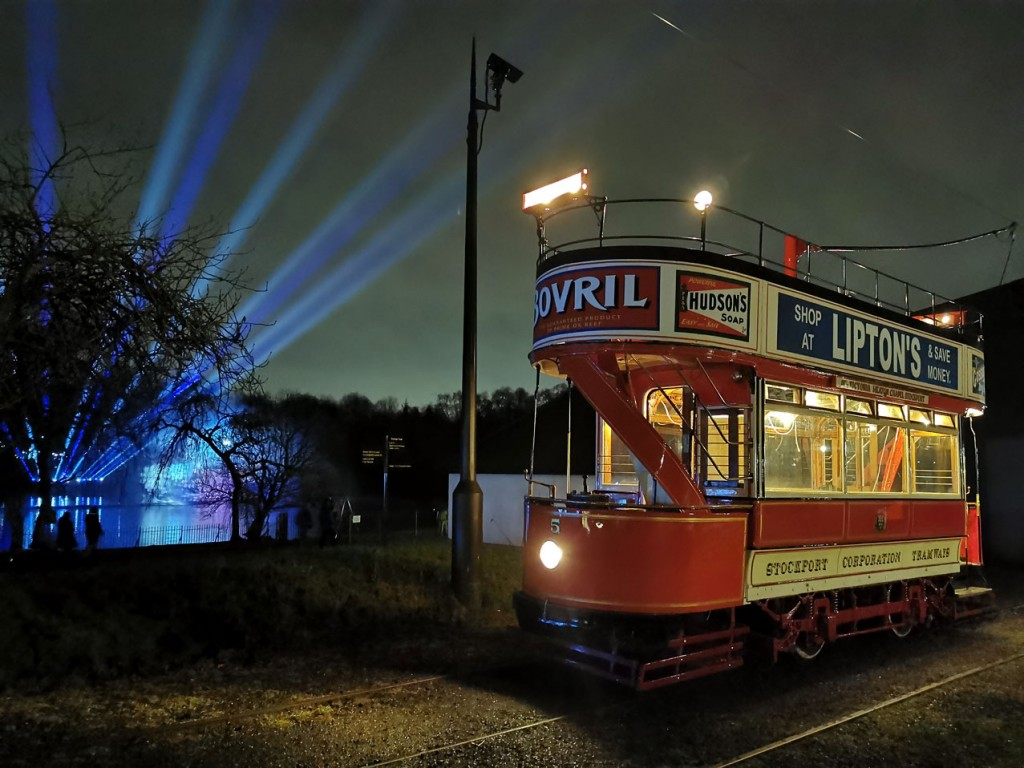 Stockport 5 poses at Lakeside as the lights of Lightopia shine in the background. (All Photographs by Joshua Haworth)