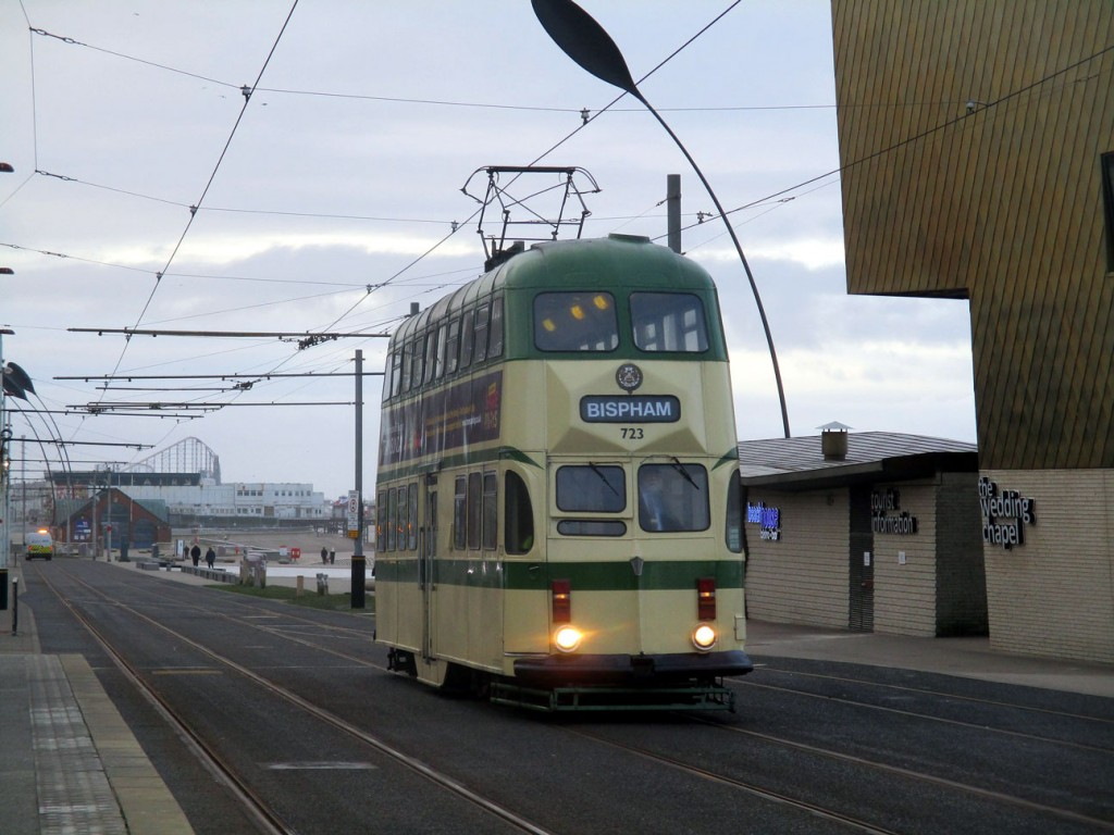 The first public heritage tram of 2020 approaches Tower and North Pier on 4th January with the morning service to Bispham. This is Balloon 723. (Photograph by Rob Bray)