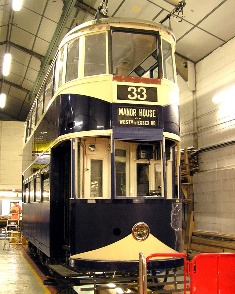 London County Council 1 – Bluebird – has called the Workshop its home for five and a half years now (is the longest length of time a single tram has spent in one go in the Workshop?) and its restoration continues to make progress. In this view we see that much of the glazing is in place and the Blue and White paintwork continues to be progressed. The tram is sitting on its own trucks.