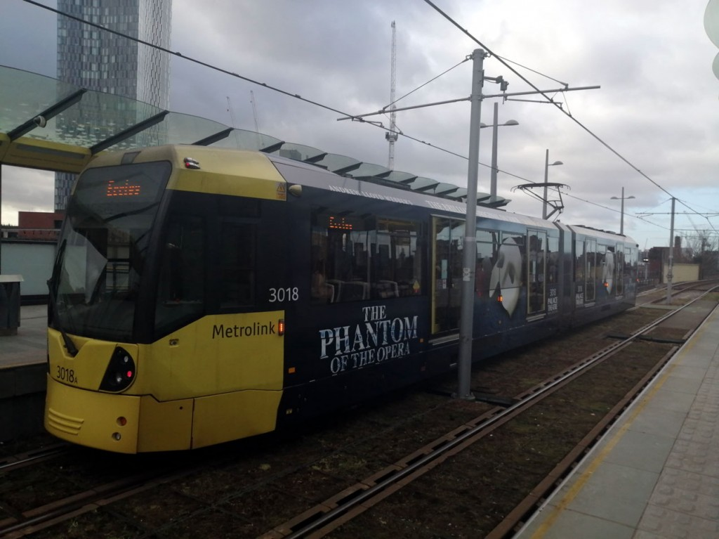 3018 waits at Deansgate-Castlefield. (Both Photographs by Reece Hughes, 1st February 2020)