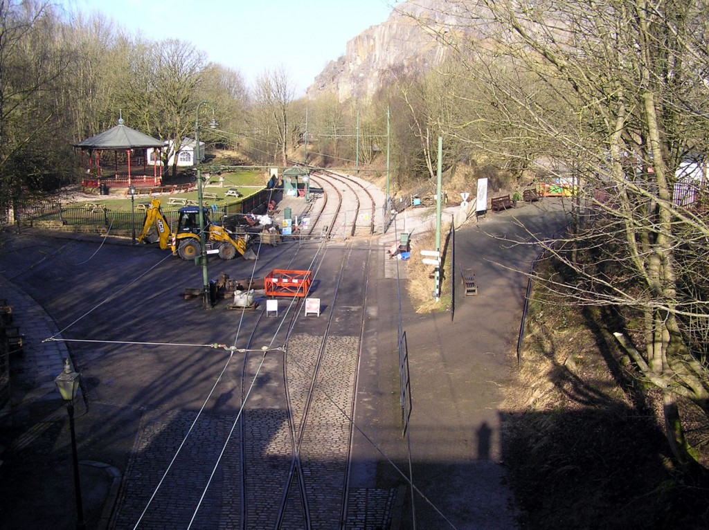 Looking north from Bowes Lyon Bridge towards the new track, sleepers and ballast.