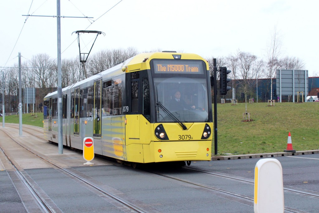 """3079 seen approaching the Parkway stop during an inbound driver training duty. Note the destination screen """"The M5000 Tram"""". (All Photographs by Mike Haddon, 4th March 2020)"""