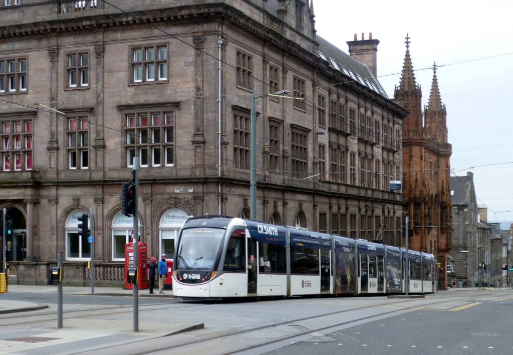 252 heads away from the camera in North Saint Andrew Street with a service for York Place on 16th April 2020. It must have been a chilly day judging by the two pedestrians out for a walk wrapped up nice and snug! (Photograph by Roy Calderwood, 16th April 2020)