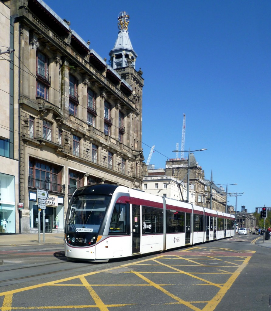 270 is another tram to have lost advertising vinyls in recent months and is seen running in plain fleet livery in this 18th April 2020 shot. (Photograph by Roy Calderwood, 18th April 2020)