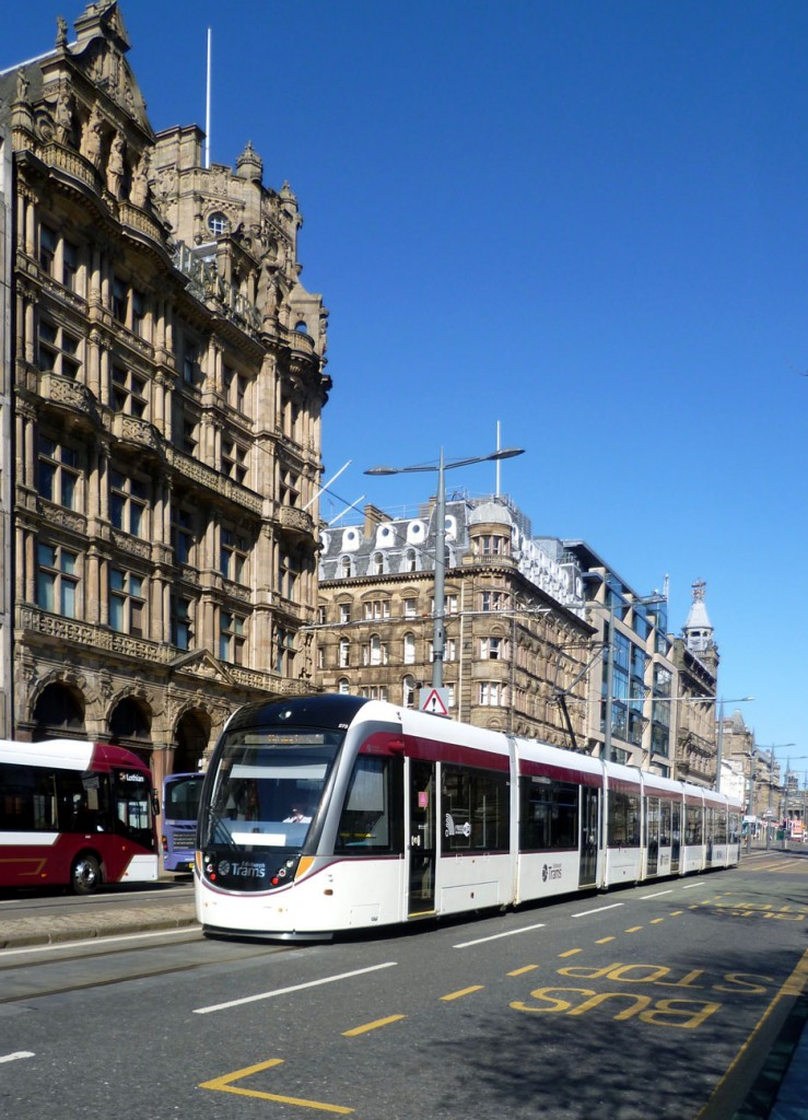 On a sunny 19th April 2020 we see 273 in its plain livery running westbound on Princes Street outside Jenners. (Photograph by Roy Calderwood, 19th April 2020)