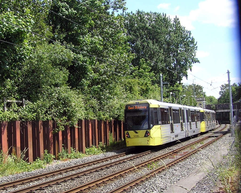 In this view we see 3036, the back tram of a double unit, just arriving at Chorlton with a service which is bound for East Didsbury. (Photograph by Keith Chadbourne, 1st June 2020)